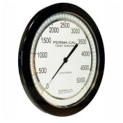 """Perma-Cal 108FTM11A21,8.5"""" Dial,0-1,000 psi,1/4"""" NPT,Bottom Mount,SS Connection,BLK Front Flange"""