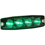 """Buyers 4.4"""" Green Surface Mount Ultra-Thin Strobe Light With 4 LED - 8892249"""