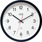 """Infinity Instruments 14"""" Round Atomic Time Keeper Wall Clock - Black"""