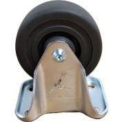 """Medium Duty Rigid Plate Caster 3-1/2"""" Hard Rubber Wheel 275 Lb. Capacity"""