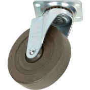 "Medium Duty Swivel Plate Caster 5"" Hard Rubber Wheel 290 Lb. Capacity"