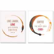 "Advantus® Canvas Motivational Print, 11""W x 14""H Breakroom Coffee, Set of 2"