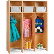 "Jonti-Craft® 3-Section Wood Hanging Locker with Platinum Tubs - 36.5""W x 15""D x 48""H"