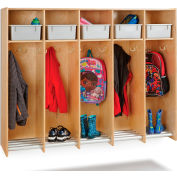"Jonti-Craft® 5-Section Wood Hanging Locker with Platinum Tubs - 60.5""W x 15""D x 48""H"