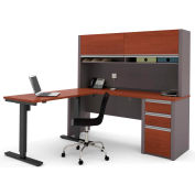 Bestar® Connexion L-Desk with Hutch with Electric Height AdjusTable Table Bordeaux & Slate