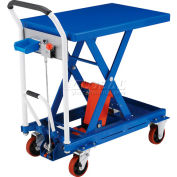 Global Industrial™ Mobile Scissor Lift Table with Hook-on Bin - 660 Lb. Cap. - 29 x 19 Platform