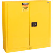 Global Industrial™ Bench High Flammable Cabinet, 22 Gallon Manual Close DBL Door, 35Wx22Dx35H