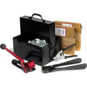 """Pac Strapping Kit w/ Tensioner/Sealer/Cutter/Case & Two 5/8"""" Strap Width x 200'L Coils, Black"""