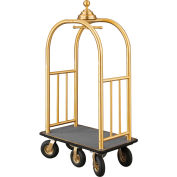 Glaro Ball Crown Bellman Cart 40x25 Satin Brass Gray Carpet, 6 Black Pneu Wheels