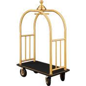 Glaro Ball Crown Bellman Cart 48x25 Satin Brass Black Carpet, 4 Black Pneu Wheels