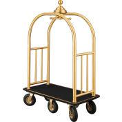 Glaro Ball Crown Bellman Cart 48x25 Satin Brass Black Carpet, 6 Black Pneu Wheels