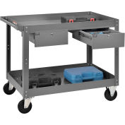 Global Industrial™ 2 Shelf Deep Tray Steel Stock Cart 36x24 800 Lb. Capacity with 2 Drawers