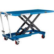 Global Industrial™ Long Deck Mobile Scissor Lift with Oversized 63 x 32 Platform 1100 Lb. Cap.