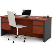 "Bestar® Wood Desk - Double Pedestal - 71"" - Bordeaux & Graphite - Prestige+"