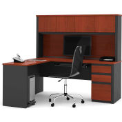 "Bestar® L Desk with Hutch - Single Pedestal - 71"" - Bordeaux & Graphite - Prestige+"