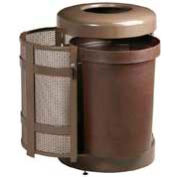 "Open Top Trash Receptacle With Side Door, Bronze, 38 gal. cap, 24"" Dia x 35""H."