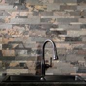 "Aspect 23.6"" x 5.9"" Peel & Stick Stone Decorative Tile Backsplash, Medley Slate - A90-81"