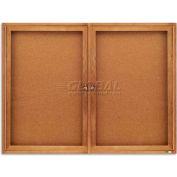"""Quartet® Enclosed Cork Bulletin Board for Indoor Use, 48""""W x 36""""H, 2 Door, Oak Frame"""