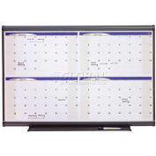 "Quartet® Prestige Four-Month Calendar, 36""W x 24""H, Total Erase, Graphite Frame"