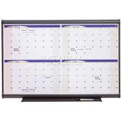 "Quartet® Prestige® Four-Month Calendar, 48""W x 36""H, Total Erase®, Graphite Frame"