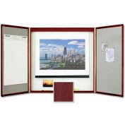 "Quartet® Premium Conference Room Cabinet, 48""W x 48""H, Whiteboard/Screen, Mahogany"