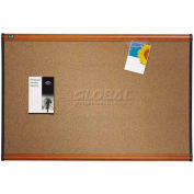 "Quartet® Prestige® Colored Cork Bulletin Board, 36""W x 24""H, Cherry Finish Frame"