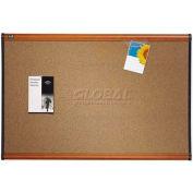 "Quartet® Prestige® Colored Cork Bulletin Board, 48""W x 36""H, Cherry Finish Frame"