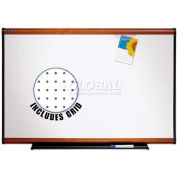 "Quartet® Prestige® Total Erase® Whiteboard, 72""W x 48""H, Light Cherry, Writing Grid"