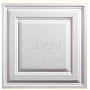Genesis Designer Icon Relief PVC Ceiling Tile 754-00, Waterproof & Washable, 2'L X 2'W, White