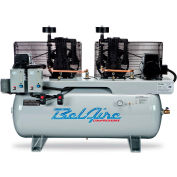 Belaire 8090250005 Two Stage Horizontal Duplex Air Compressor, 2 x 5HP, 120 Gallon