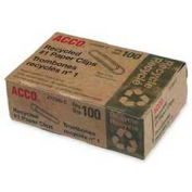 Acco® Recycled No. 1 Paper Clips, Silver, 100/Box