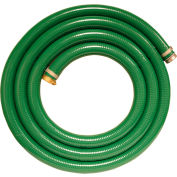 """1-1/2"""" x 20' Green PVC Water Suction Hose Assembly Coupled w/ M x F Aluminum Short Shank Fittings"""