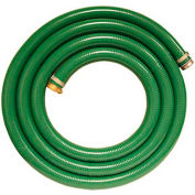 """6"""" x 20' Green PVC Water Suction Hose Assembly w/ Aluminum C Coupling x Plated Steel King Nipple"""
