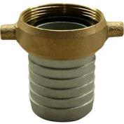 "1-1/2"" Aluminum Female Short Shank Coupling w/ Brass Nut"