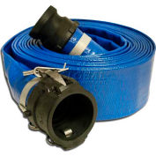 "Apache Hose & Belting PVC Lay Flat Discharge Hose w/ C x E Poly Cam & Groove Fittings, 2"" x 25'"