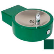 Barrier Free, Round Steel Fountain, Lead Free Stainless Steel Bubbler, Green