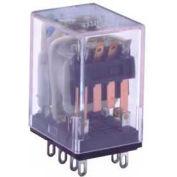 Industrial Relay, 95 Series, Type DPDT, Plug In (Solder) Terminal, Light Indicator, Coil 24 VDC
