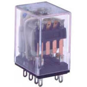 Industrial Relay, 95 Series, Type 4PDT, Plug In (Solder) Terminal, Light Indicator, Coil 24 VDC