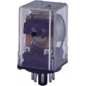 Industrial Relay, 97 Series, Heavy Duty, Type DPDT, Blade Terminal, Octal, Push To Test, 24 VAC