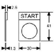 Advance Controls 123395, Emer-Stop 22mm Non Metallic Legend Plate, Silver Lettering/Yellow Bkgrnd