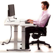 Equity™ Height Adjustable Bi-Level Computer Workstation - Gray