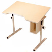 Knob Adjusted Wheelchair Accessible Curved Tilting Table w/Storage - Maple