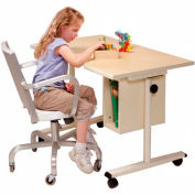"""Knob Adjusted Wheelchair Accessible Curved Table w/Storage - 40""""L x 24""""W Maple"""