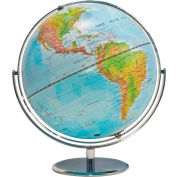 "Advantus® 12"" Physical World Globe, Raised Relief, Silver, Full Swing Meridian"