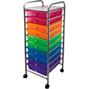 "Advantus® Organizer 10 Drawer Cart 34004 - 15-1/2""L x 13""W x 37-5/8""H,Assorted-Colored Drawers"