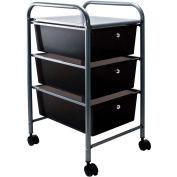 """Advantus® Organizer 3 Drawer Cart 34006 - 15-1/2""""L x 13""""W x 27""""H, Smoke-Colored Drawers"""