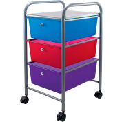 "Advantus® Organizer 3 Drawer Cart 34081 - 15-1/2""L x 13""W x 27""H, Assorted-Colored Drawers"