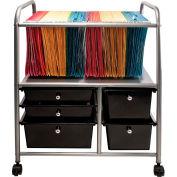 """Advantus® Organizer File Cart with 5 Black Drawers 34100 - 15-1/4""""L x 21-1/8""""W x 28-3/8""""H"""