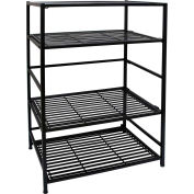 "FlipShelf Entertainment Stand 37671DS,  24-1/4"" W x 16"" D x 34"" H, 4-Level Black"