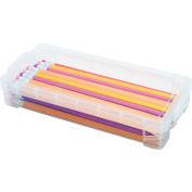 Advantus® Super Stacker Pencil Box, Clear, Holds 50+ Pencils, 25+ Pens, or 64+ Crayons - Pkg Qty 16
